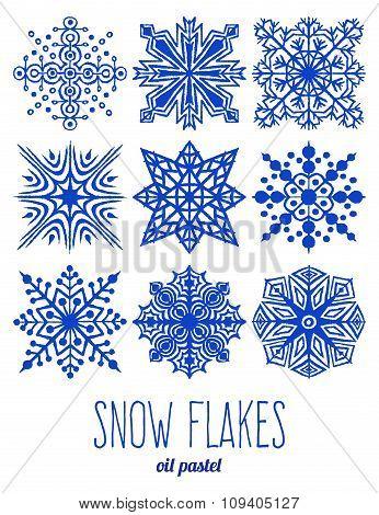 Hand drawn snow flakes set