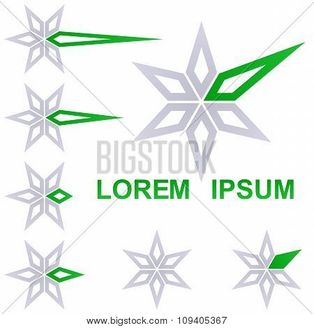 Grey and green star business icon design set