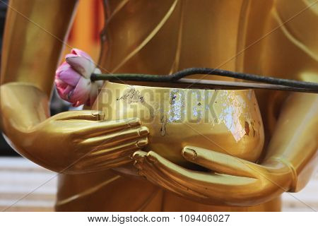 Buddha's Hands With A Cup And A Lotus Flower - Thailand