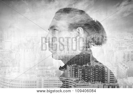 Pportrait Of A Man Over Modern Cityscape