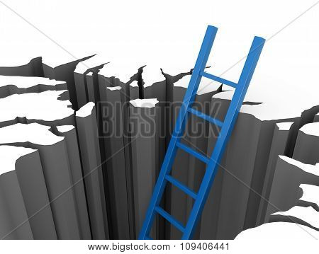 Blue Ladder Leads Out Of A Pit