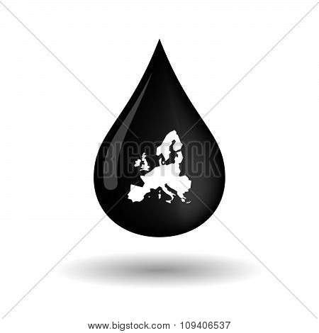 Vector Oil Drop Icon With  A Map Of Europe