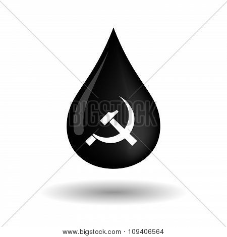 Vector Oil Drop Icon With  The Communist Symbol