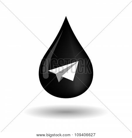 Vector Oil Drop Icon With A Paper Plane