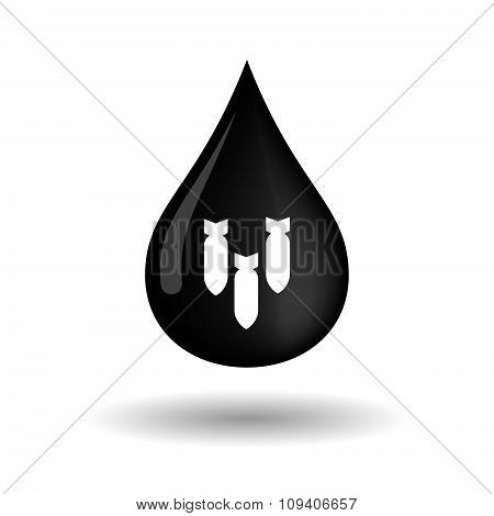 Vector Oil Drop Icon With Three Bombs Falling