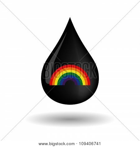 Vector Oil Drop Icon With A Rainbow