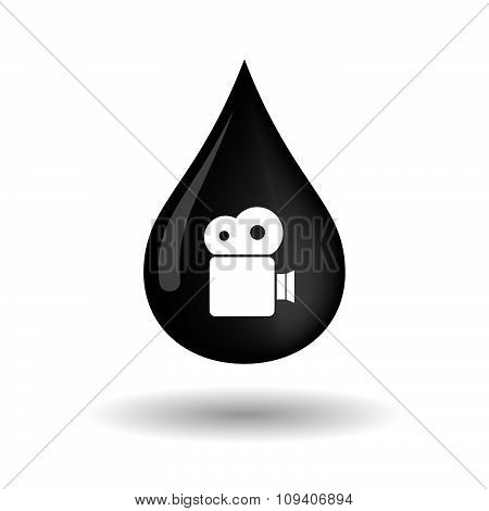 Vector Oil Drop Icon With A Film Camera