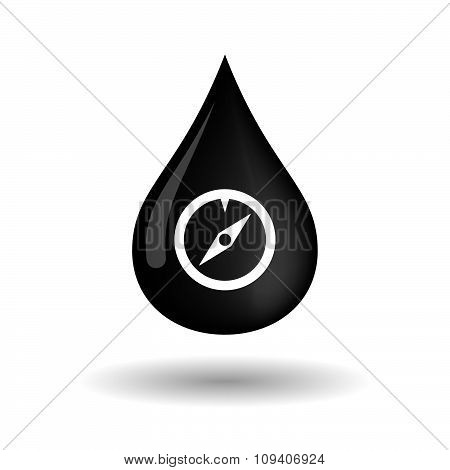 Vector Oil Drop Icon With A Compass
