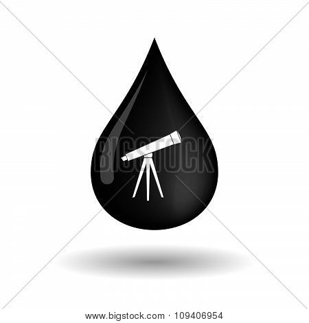 Vector Oil Drop Icon With A Telescope