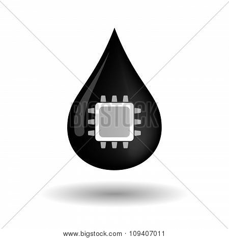 Vector Oil Drop Icon With A Cpu