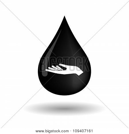 Vector Oil Drop Icon With A Hand Offering