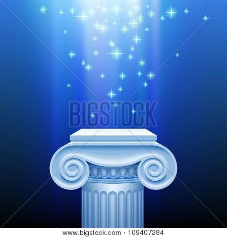 Antique classic capital against a blue luminous sparkling background. Presentation place with an ancient column in blue light