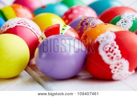 Painted beautiful colorful Easter eggs