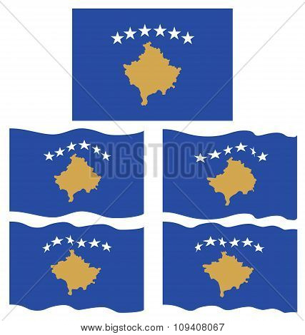 Flat And Waving Flag Of Kosovo