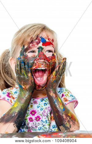 Little Girl Painting Face With Hands.