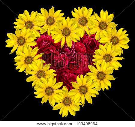 Heart Of Yellow Flowers Of Decorative Sunflowers Helinthus And Red Roses Inside Isolated On Black