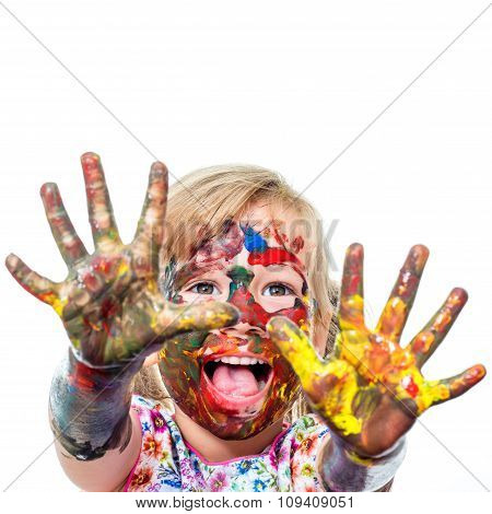 Little Girl With Painted Hands Shouting.