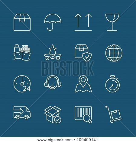 White Thin Line Iconset Logistics