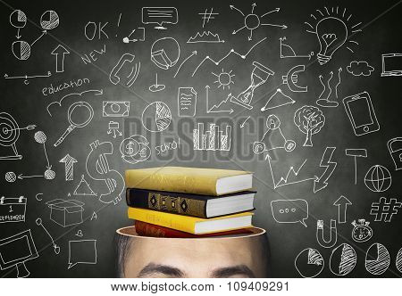 Male Head With Stack Of Book - Education