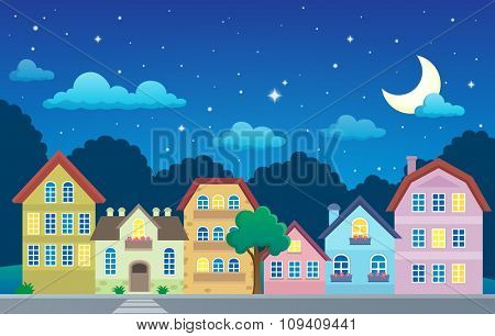 Stylized town at night - eps10 vector illustration.