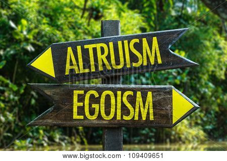 Altruism - Egoism signpost with forest background