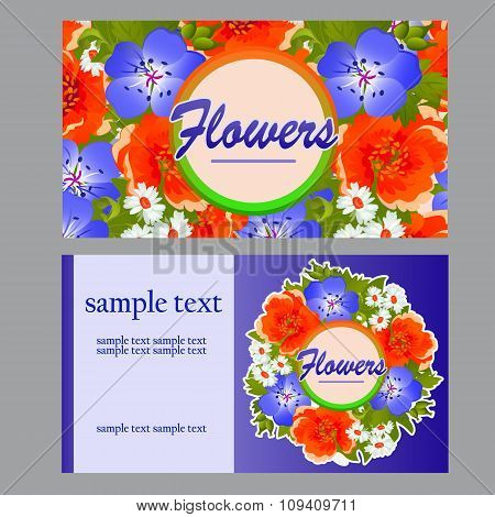 Two colorful cards for your business needs, in red and blue