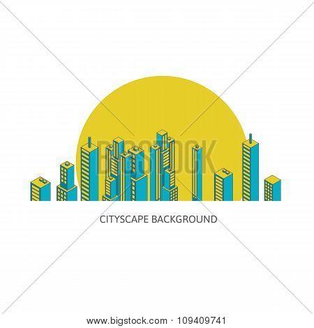 Cityscape Background Architecture Isometric Style