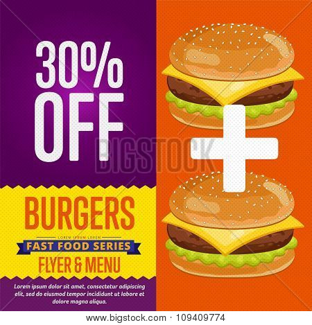 Burgers sale banner.