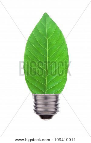 Ecological Concept, Leaf And Lamp Mix Together Isolated On White
