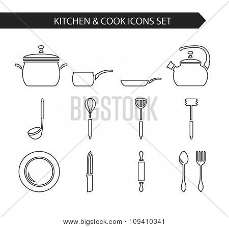 Thin line kitchen and cook icons.
