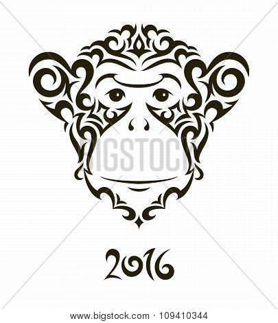 Illustration of monkey - symbol of the New Year 2016.