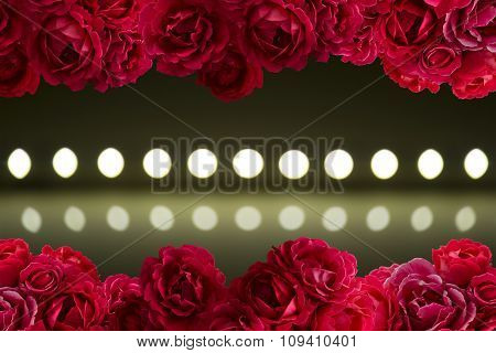 Play Of Light On Defocusing Blur Led Lamps With Bush Of Red Rose Flowers Background