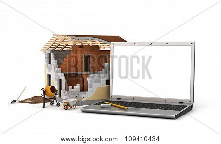 Concept Of Computer Design. Laptop With White Blank Screen Near House In Building Process With Const