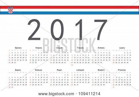 Croatian 2017 Year Vector Calendar