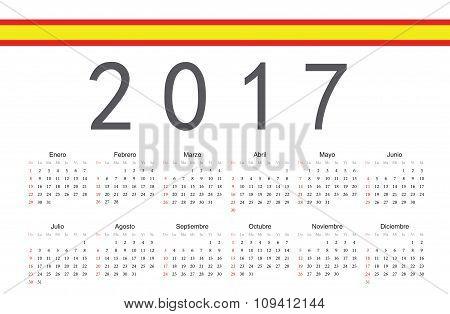 Spanish 2017 Year Vector Calendar