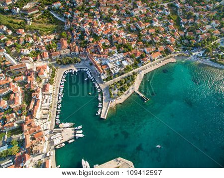 Aerial view of the harbour of Supetar, on the island of Brac, Croatia.