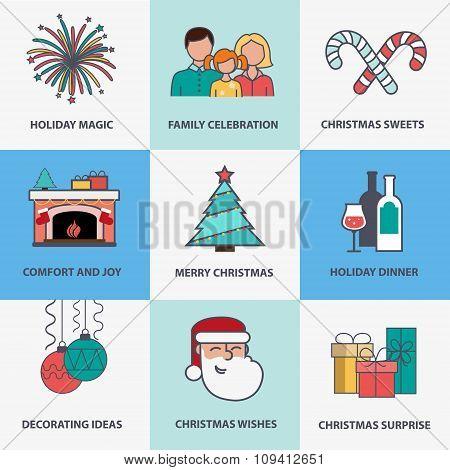 Flat Style Christmas Icons
