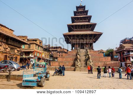 BHAKTAPUR, NEPAL - NOVEMBER 16, 2015: Nyatapola temple on Taumadhi square.