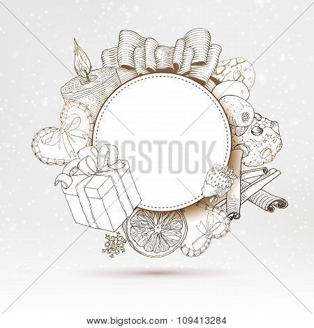 Vintage Christmas gifts label at snow backdrop