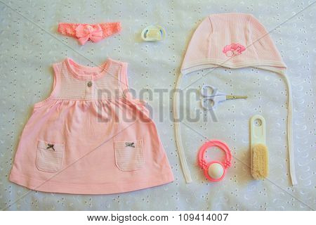 Collection of baby things for girl, top view