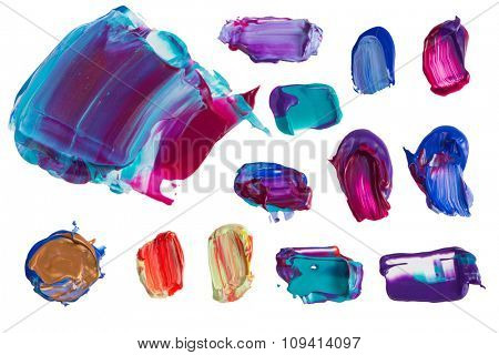 Set of colorful painting  smears isolated on the white background
