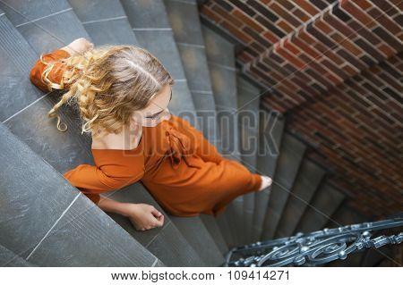 Beautiful Blond Woman In Long Dress