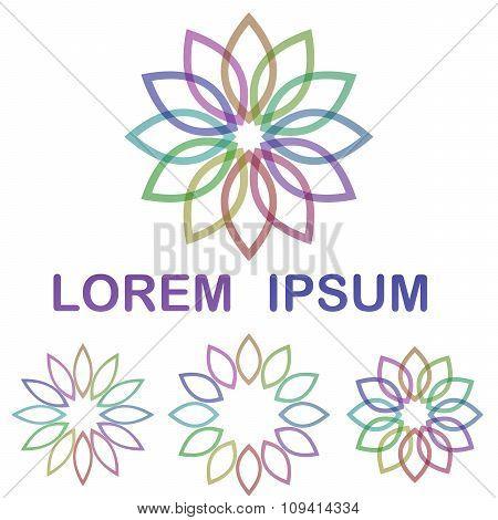 Multicolored flower symbol design set