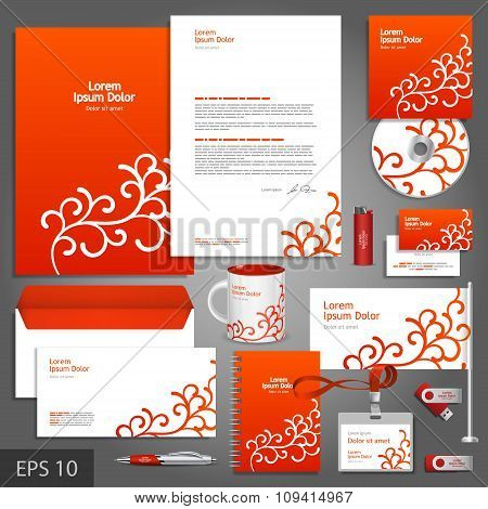 Red Corporate Identity Template With Floral Elements