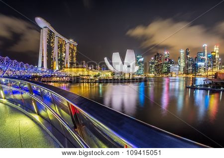 A view of the Marina Bay, Singapore, in the night time