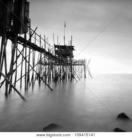 Long exposure black and white image of