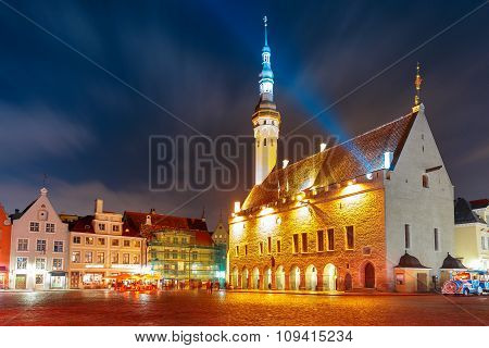 City Hall square in Old Town of Tallinn, Estonia