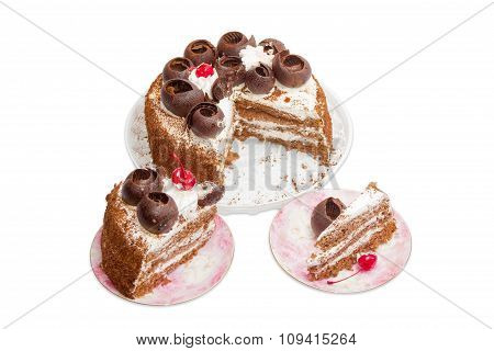 Sponge Cake On A Light Background
