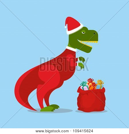 Dinosaur Santa Claus. T-rex In  Christmas Hat. Tyrannosaurus With Gift Bag. Hilarious Lizard With  S