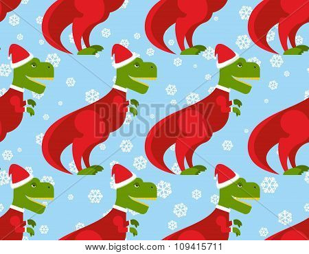 T-rex Santa Claus Seamless Pattern. Christmas Dinosaur Backdrop. Ancient Creeper Dressed  Santa Clau